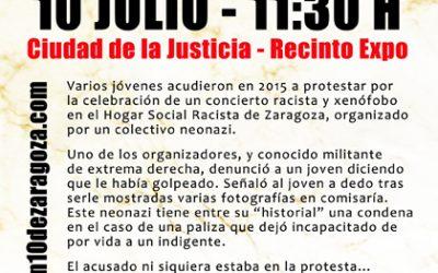 Primer juicio a los 10 antifascistas de Zaragoza.  10 de Julio, a las 11'30 h. Ciudad de la Justicia.