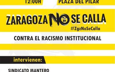 Para el 22 de Septiembre, Concentración de protesta.  12 h. Plaza del Pilar.  Contra el racismo institucional.