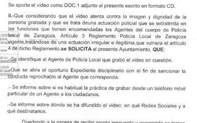 Denuncia pública sobre toma de imágenes por la Policia Local